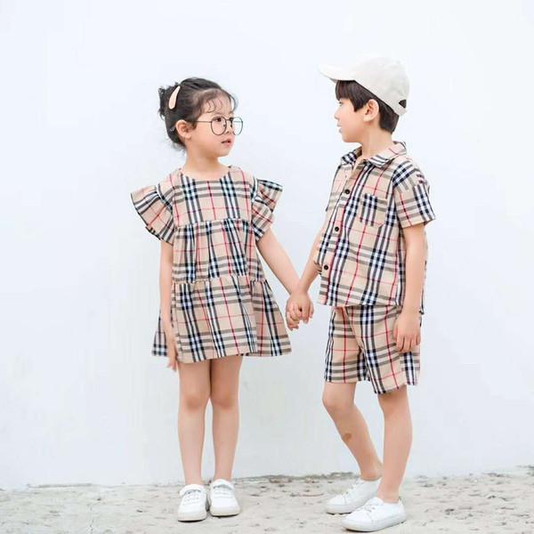 de marca por atacado TB crianças se adapte 2019 nova família de Verão Matching T-shirt + short Outfits Meninos Meninas Vestem Childrens Clothing Set alta qualidade