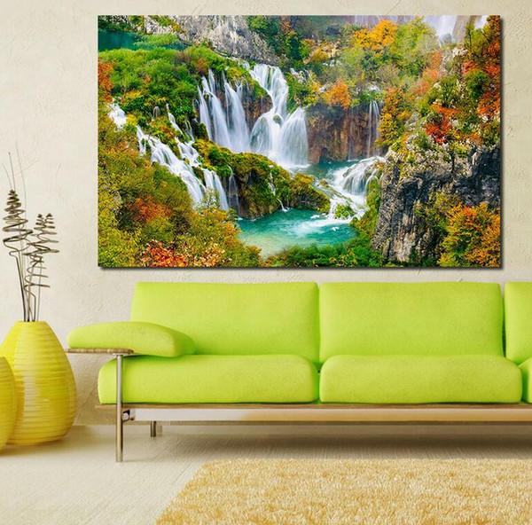 Acheter Impression Peinture à L Huile Peinture Murale En Vedette Cascade Mur Art Photo Pour Salon Peinture No Frame De 8 05 Du Emmagallery