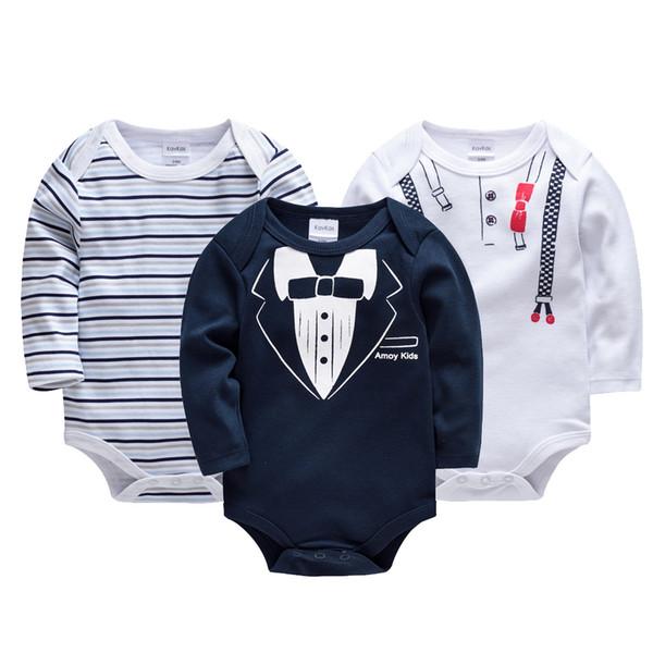 Kavkas 3 adet / takım Bebek Erkek Giysileri Kış Bebek Noel Aşınma 100% Pamuk Vücut Uzun Kollu Yenidoğan Erkek Bebek Tulumlar Giysileri J190526