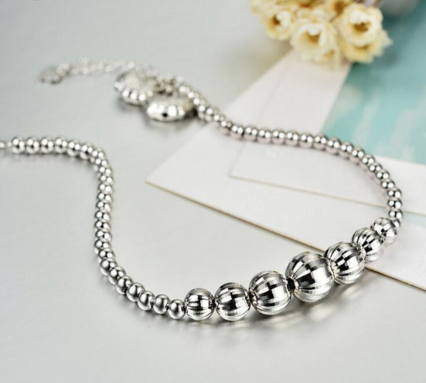 925 sterling silver bracelet Female Korean version of the simple silver beads small long life lock bracelet ladies temperament sterling silv