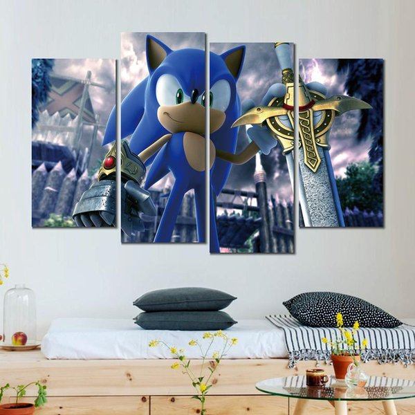 4 sets still life sonic the black knight canvas print arts pictures for dining room decor