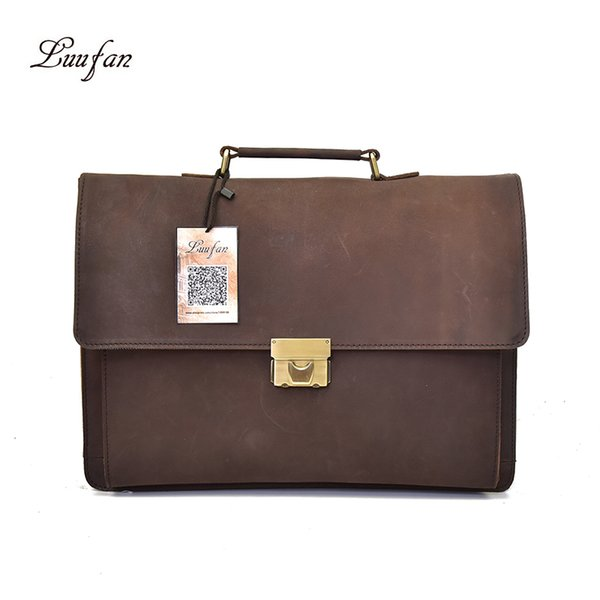 Luufan Briefcase Business Bag Homens Macho Grande Capacidade Dark Brown Couro De Cavalo Louco trabalho de Escritório Advogados Trip Clássico com Cinta