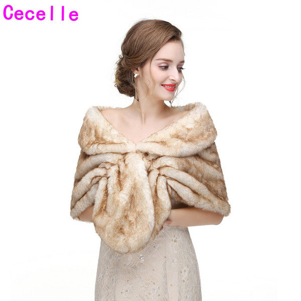 Hot New Winter Bridal Faux Fur Wraps 2019 Bridesmaid Women Colorful Faux Fur Capes For Wedding Party Winter Party Warm Fur Shawl