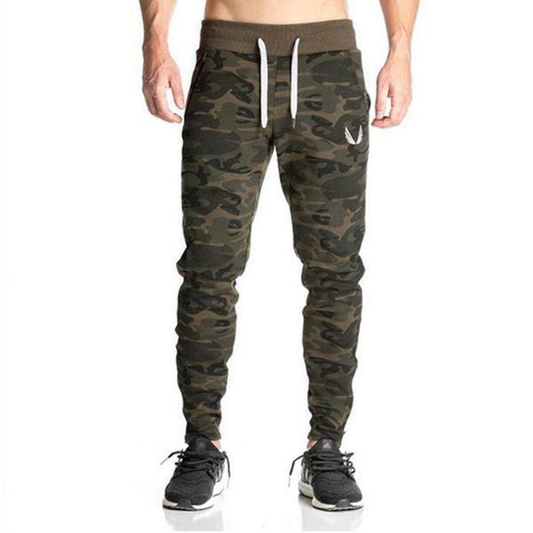 Yeni Erkek Gasp Egzersiz Vücut Geliştirme Giyim Rahat Kamuflaj Erkekler Sweatpants Joggers Pantolon Sıska Pantolon Sıcak SH190816