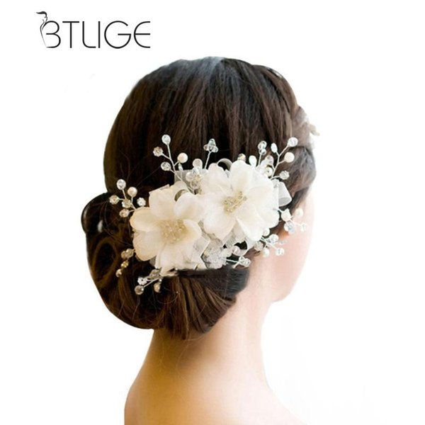 BTLIGE Hair Ornaments Wedding Hair Accessories Romantic Lace Hairwear Flower Wedding Bride Accessories Bridal