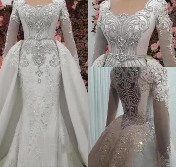 New Arrival Mermaid Long Sleeves Wedding Dresses Vintage Rhinestones Beaded Garden Country Bride Bridal Gowns Custom Made Plus Size