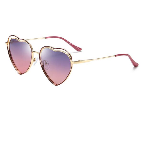 High quality fashion boy girl sunglasses kids love gold frame sunglasses kids heart marine mirror awning children beach sunglasses send box