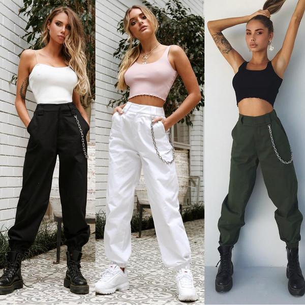 Alta Mulheres Cintura Moda Calça Elegante Hip Hop Vogue Pant Senhoras Pantalon Femme Harajuku Calças Streetwear Dames Kleding