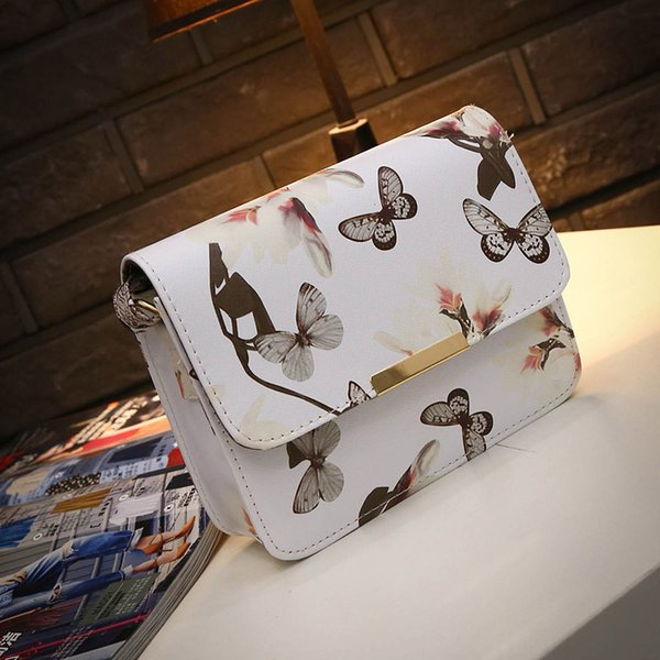 Cheap Women Floral leather Shoulder Bag Satchel Handbag Retro Messenger Bag Famous Designer Clutch Shoulder Bags Bolsa Bag Black White