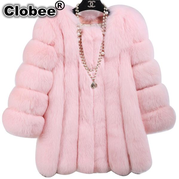 2019 Hot 2019 manteau d'hiver Les femmes épaississent le Fluffy en fausse fourrure Manteau de fourrure Taille plus long Ukraine Casaco Faux 5 couleurs TS1405
