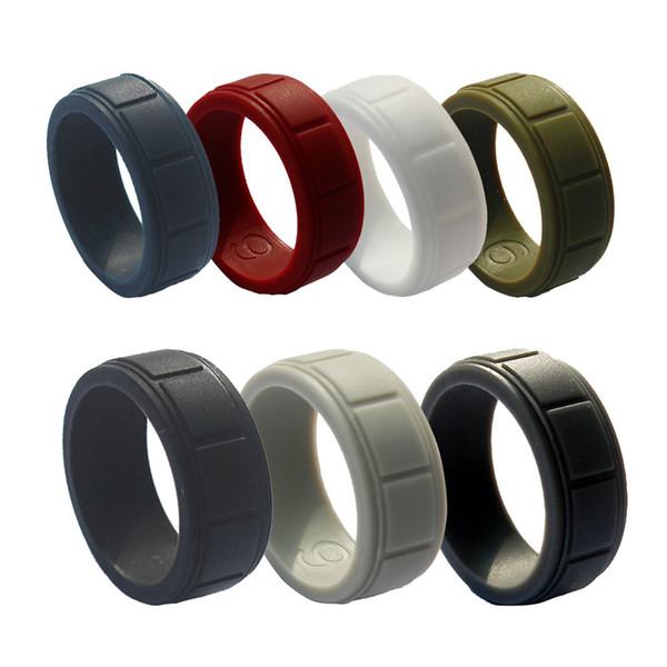 Neue 8mm Männer Plaid Silikon Ring Herren Business Outdoor Sports Engagement Hochzeit Arbeitsringe Größe 8 9 10 11 12 13