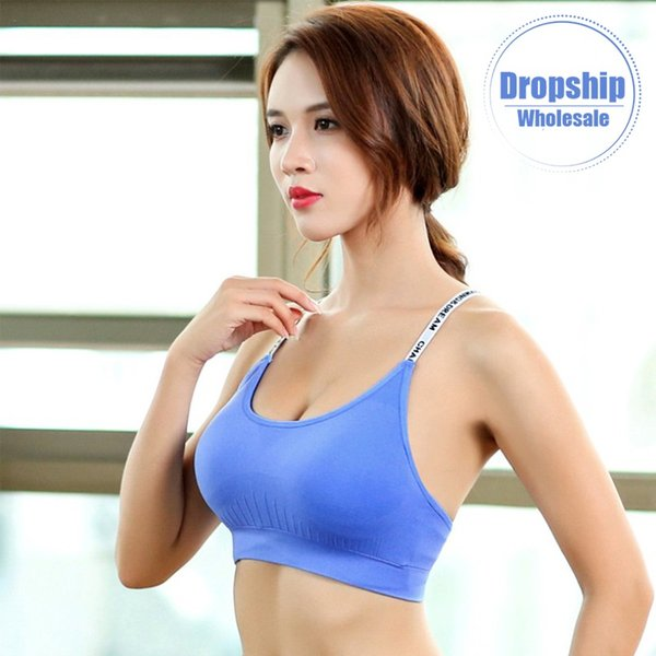 2019 Solid Athletic Sports Bra Sexy Yoga Tank Crop Top for Women Fitness Push up Gym Running Workout Fast Dry Female Letter Vest