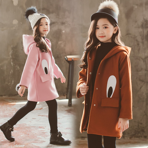 kids clothing coat jacket girls coat new school childrens padded clothes children's woolen cloth tide in winter 3-12 ages