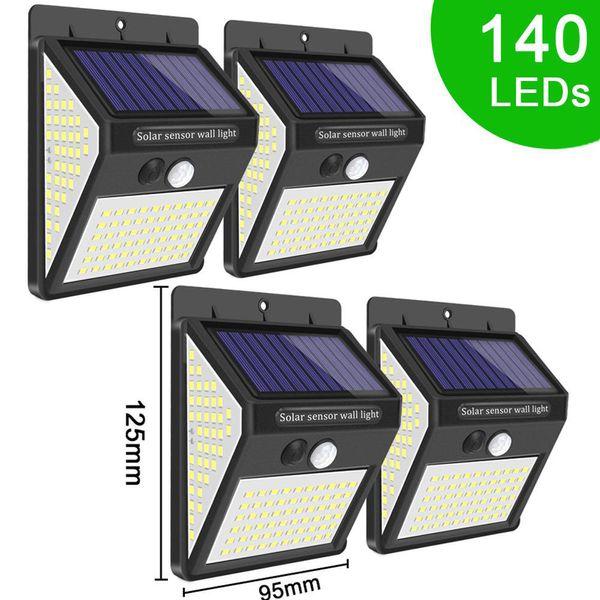 top popular In stock 140 LEDs Solar Light 3 Modes Waterproof IP65 LED Solar Lamp PIR Motion Sensor LED Garden Light Outdoor Pathway Wall LAMPS 2021