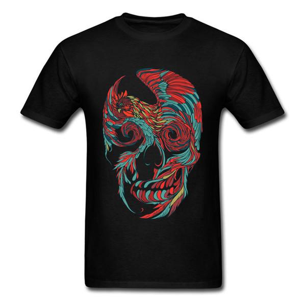 Gallo Skull Tshirt più nuovi uomini maglietta Funky Art Design Tops stile cinese Halloween T-shirt di cotone Streetwear fresco nero