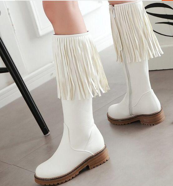 New Arrival Hot Sale Specials Super Fashion Influx Custom Tube Martin Retro Student With Box Tassels Leather Plus Velvet Warm Boots EU34-43