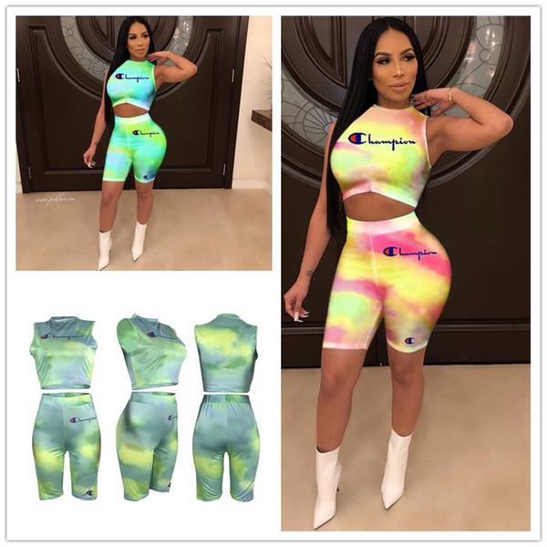 Yaz Şampiyonlar Mektup Şort Eşofman Degrade Renk Kolsuz Yelek Kırpma Tankı Yarım Pantolon 2 Adet Spor Takım Elbise Kıyafetler Spor Yeni A32702