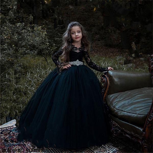 Uzun Kollu Kat Llength Aplike Siyah Çocuklar Resmi Giyim Kristal Kanat mücevher Tül Bow Çiçek Kız Elbise CG01