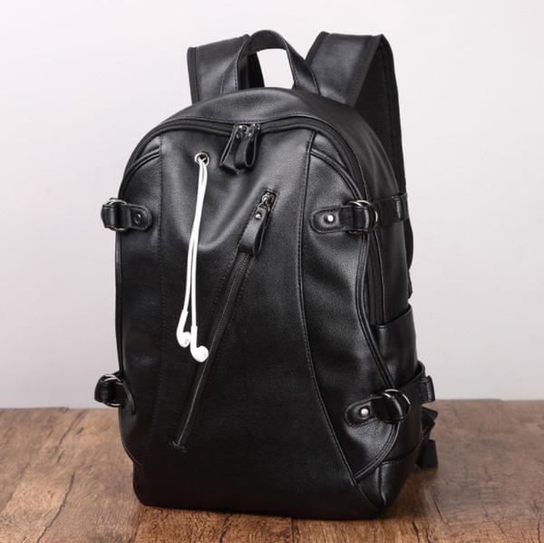 Designer-16 Inç Laptop Sırt Çantası PU Deri Buiness Sırt Erkekler için Rahat Okul Çantası Erkek Büyük Kapasiteli Çift Omuz Çantaları