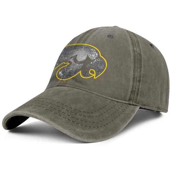 Iowa Hawkeyes football old Print logo brown Men Women Denim hat water scrubbing dad caps styles make your own slouchy Stretch Dad cap