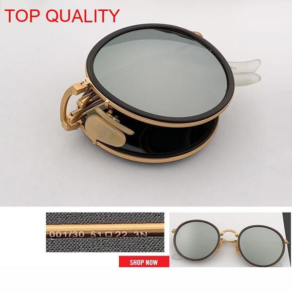 2019 superiore all'ingrosso nuovo modo rotonda pieghevole Flash Occhiali da sole in metallo Vintage Frame Donne Retro cerchio rosa rd3517 gafas Occhiali da sole