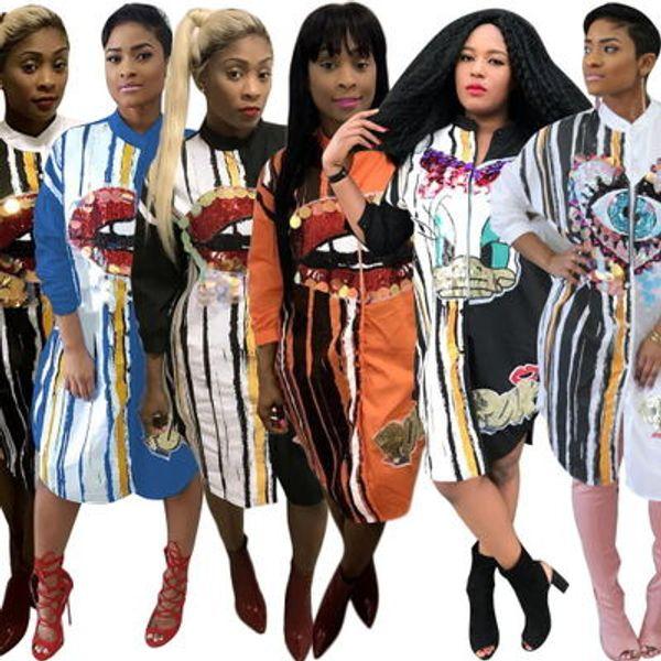 Robes de créateurs pour femmes À la mode Motif décontracté Imprimer Robe chemise Luxe Manches longues Slips Yeux Imprimé Vêtements pour Dame 6 Styles.