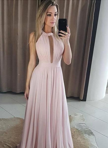 59e05dae2cf4 Compre 2019 Elegante Cuello Halter Gasa Vestidos De Baile De Color Rosa Una  Línea Vestidos Baratos Bridemaids Palabra De Longitud Vestidos De Fiesta ...