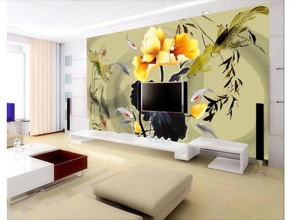 Papel de parede Personnalisé 3d photo murale papier peint décor à la maison Encre de lotus doré calmar jouer sous-marin TV canapé fond mur