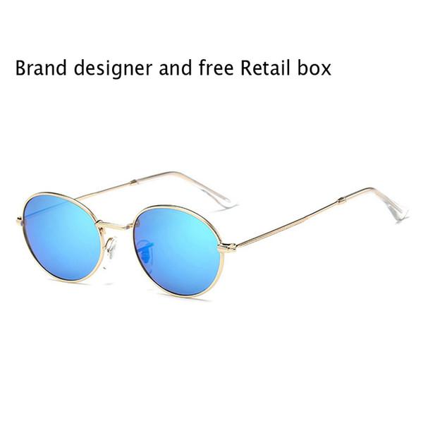 1 pz occhiali da sole ovali di moda di alta qualità uomo donna designer di marca montatura in metallo occhiali da sole vintage retrò con scatola e accessori al dettaglio
