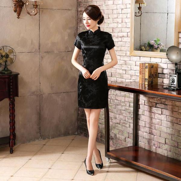 Черный дракон женский традиционный китайский стиль Qipao Винтаж с коротким рукавом узкое платье плюс размер 3XL Vestidso с коротким Cheongsam