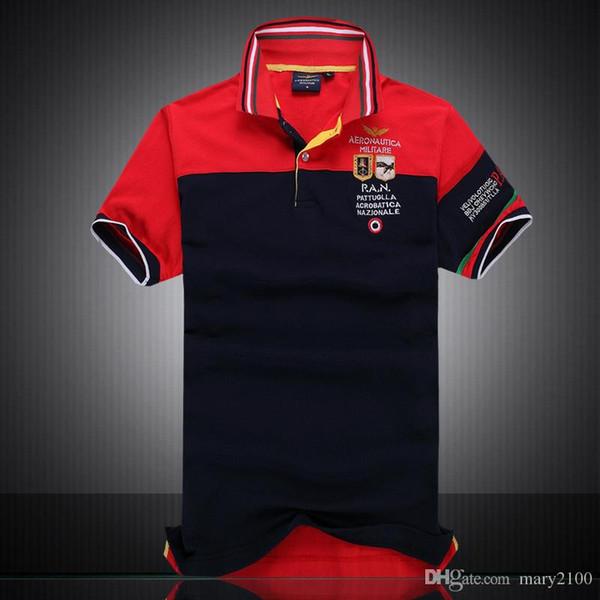 nueva camisa de polo de manga corta de los hombres de color de la Fuerza Aérea de verano Una polos bordados, el color de la solapa de la camisa Desde ropa para caballeros