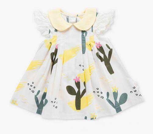 Baby Girl Clothing Dress Short Lace Sleeve Flower Print Design O-neck Summer Kids Boutique Clothes Dress