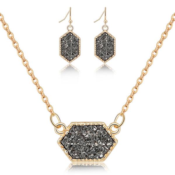 Druzy Drusy Collier Boucles d'oreilles Ensemble de bijoux en résine Crystal Stone Earings Marque Hexagone Boucle d'oreille en soirée de mariage