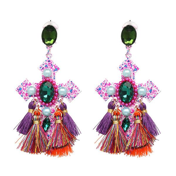 Orecchini lunghi orecchini nappa orecchini barocco tessuto strass croce orecchini a goccia per le donne gioielli orecchio di cristallo