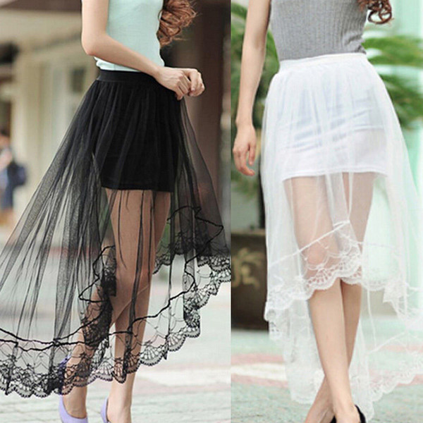 Vintage Long Skirt Women Mesh Perspective Lace Tail Stretch Asymmetrical Plain Skater Flared Pleated Skirts Black White 2Colors