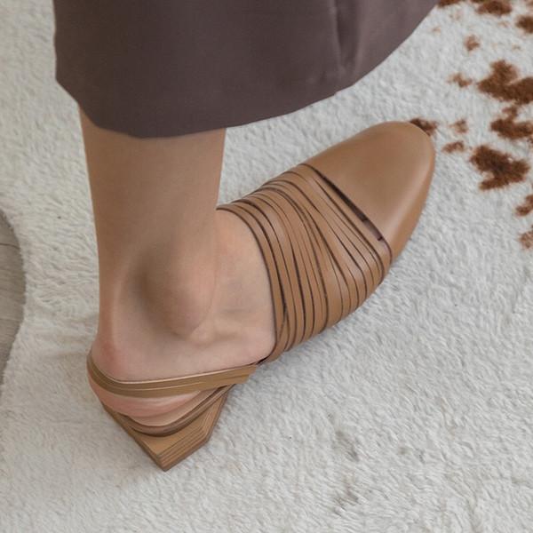 Kadın Hakiki Deri Kapalı Yuvarlak Ayak Lazer Kesme Slip-On Tokalı Slingback Konfor Düz Sandalet Elbise Ayakkabı Ayak Bileği Kayışı Blok Topuk