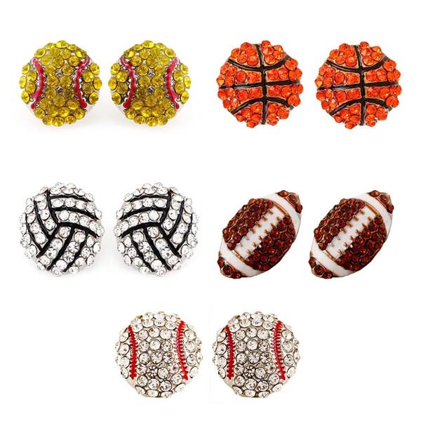 e061 sports basketball volleyball stud earrings Bling Baseball Softball Stud Earrings Rhinestone Crystal Bling Sports Girls