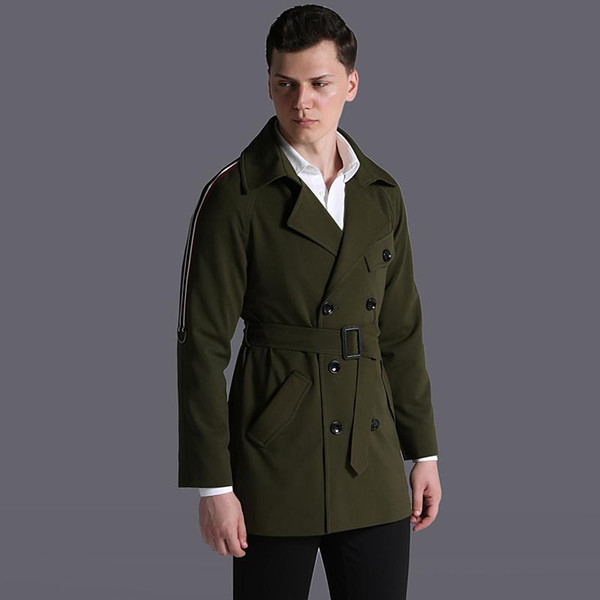New Mens Coats Male Trench Luxury Fahion Ribbon Decoration Army Green Men Windbreaker Plus Size 6xl Spring And Autumn Jackets