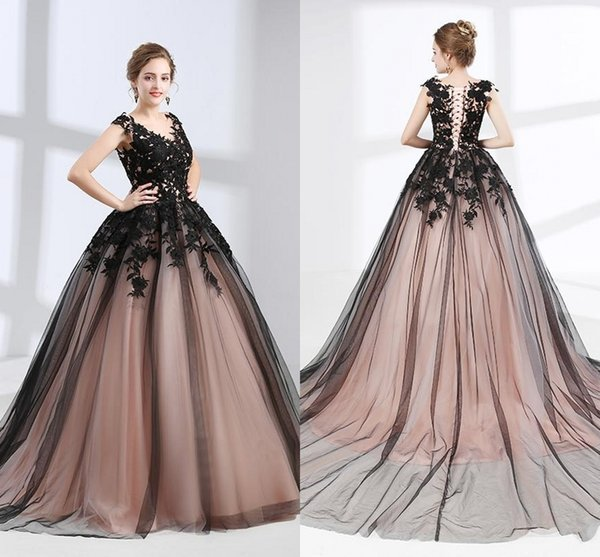 Elegant Girls Black Dresses V Neck With Appliques Cap Sleeves Ball Gown Tulle Long Party Formal Evening Dresses For Women Prom Dress DH425