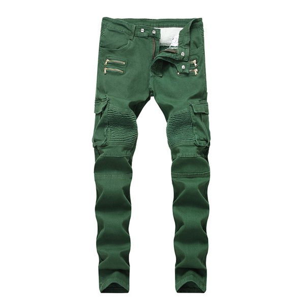 2019 Brand Wrinkled Slim Mid Waist Mens Jeans Army Green Pockets Mens Straight Jeans With Zipper Fashion Male Apparel