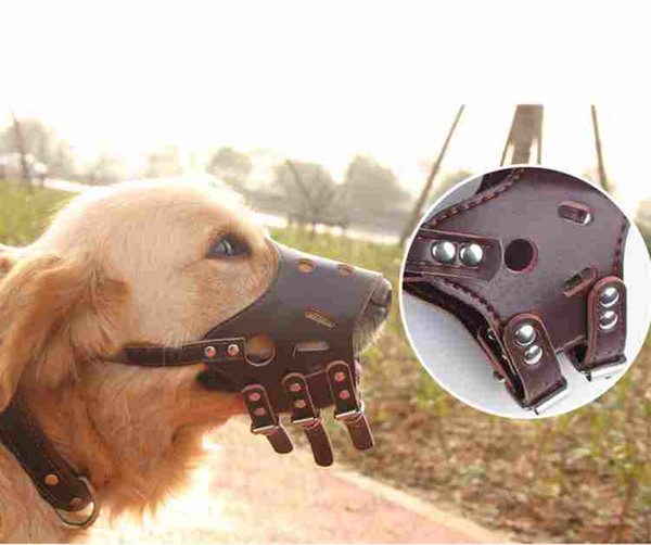 Fashion Soft PU Leather Adjustable Dog Prevention Bite Masks Anti Bark Bite Mesh Soft Mouth Muzzle Grooming Chew Stop For dogs