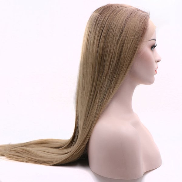 Ombre 2 Tones Light Brown To Ash Blonde Synthetic Lace Front Wig Long Straight Blonde Full Head Wigs Half Hand Tied