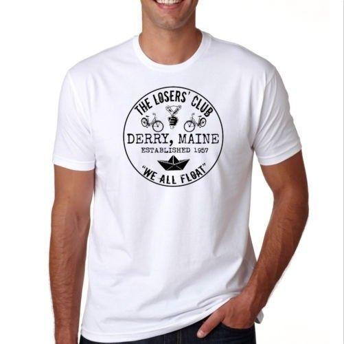 O Losers Club Loser pennywise É Stephen King tee S M L XL 2XL 3XL T-Shirt Harajuku Verão 2018 Tshirt Clássico Qualidade alta t-shirt