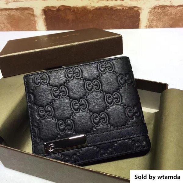 Designer Top Qualité Luxe Celebrity Design Lettre Ruban Gaufrage Abeille Portefeuille Carte Pack Cuir de Vachette En Cuir Noir Homme 233110 Bourse D'embrayage