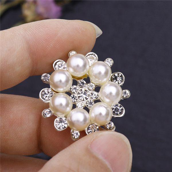 Botones de flores de perlas de imitación Adornos para vástagos artesanales Botones de diamantes de imitación transparentes Suministros de Scrapbooking para manualidades de costura