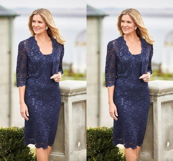 Elegant Two Pieces Dark Navy Short Mother Of The Bride Dresses With Jacket 2019 Knee Length Full Lace Sheath Wedding Guest Dress Suits