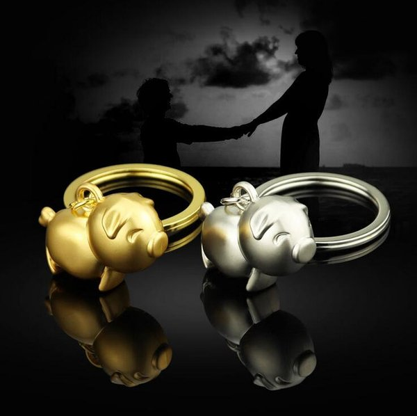 Cute Pig Keychains Keyring Bag Charm - Gold Silver Pig Metal Key Chain Ring Holder Decoration Keyfob Wedding Party Gifts Wholesale