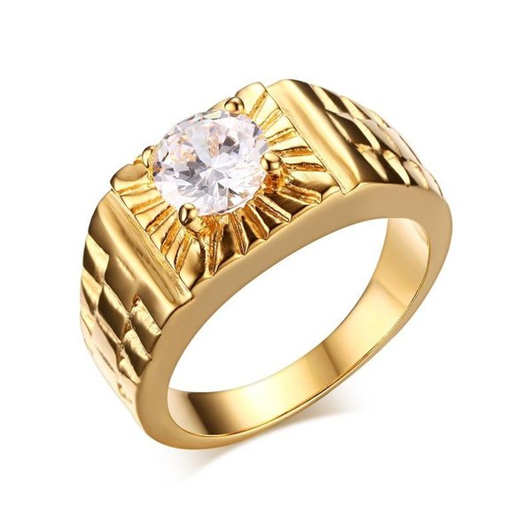Men Punk Ring Stainless Steel AAA CZ IP Gold Plated High Polished Vintage Jewelry Carved Geometric Hipsters Accessories Gold Size 7-11