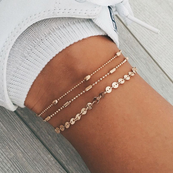 Bohemia Alloy Multi-layers Gold Silver Beads Sequins 3 Pieces Set Bracelet For Women Jewelry Foot Chain Anklets Accessories Gift
