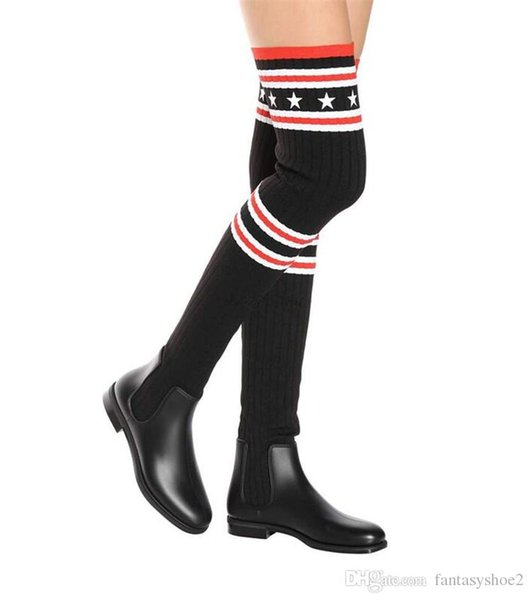 589511094df9 Stretch Wool Knitted Stripe Star Over The Knee Boots Fashion Street Snap Black  Leather Flat Long